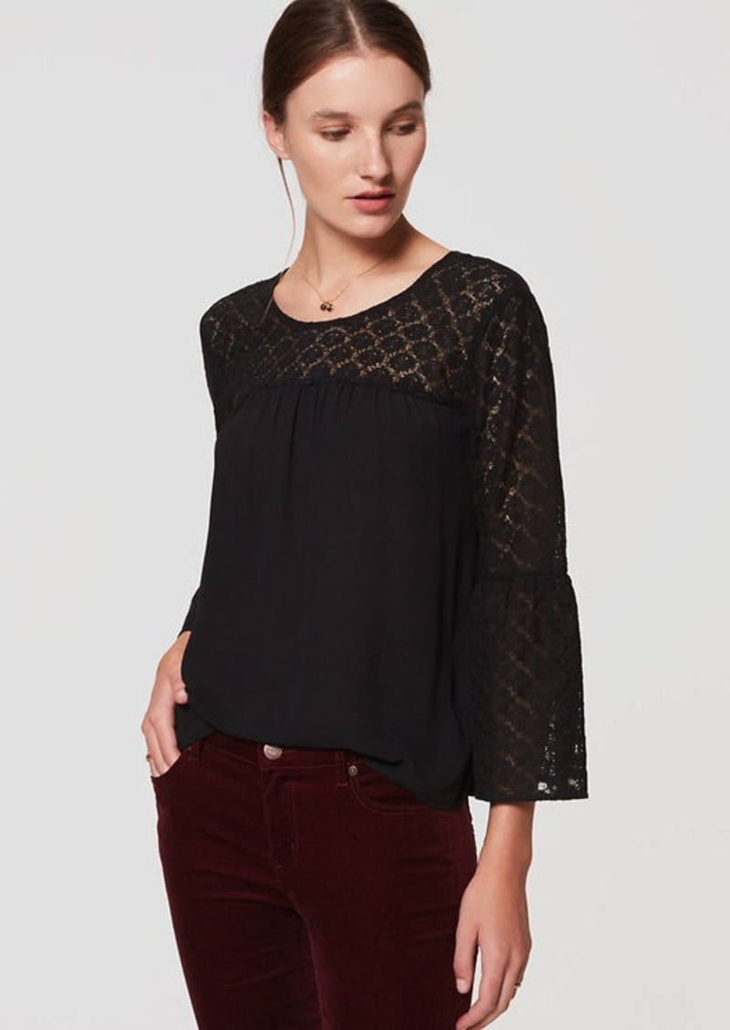 LOFT Lace Bell Sleeve Blouse