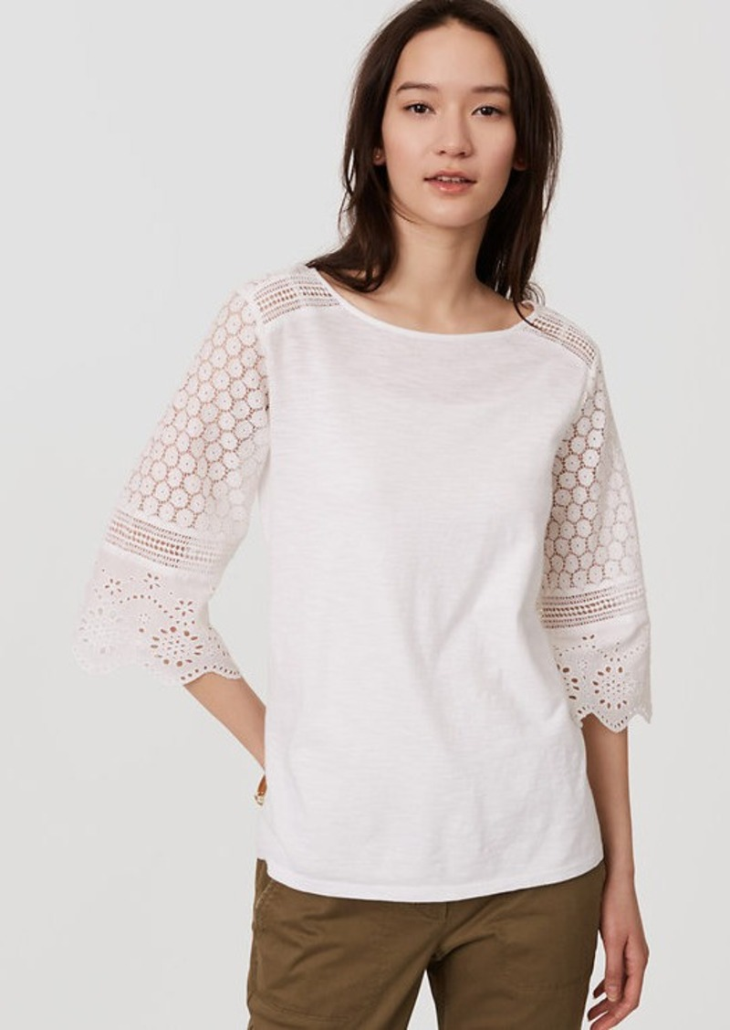 Loft lace bell sleeve top casual shirts shop it to me for Bell bottom sleeve shirt