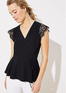 LOFT Lace Cap Sleeve Wrap Top