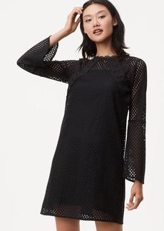 LOFT Lace Mesh Bell Sleeve Dress