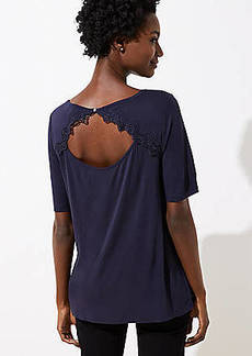 LOFT Lace Trim Cutout Back Tee