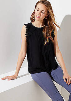 LOFT Lace Trim Pintucked Shell
