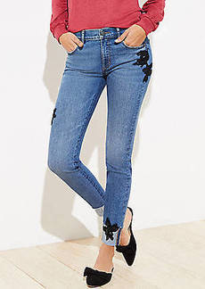 LOFT Lace Trim Slim Pocket Skinny Jeans in Staple Mid Indigo Wash
