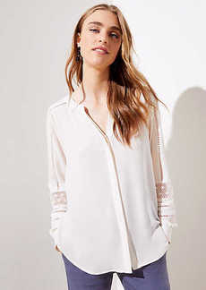 LOFT Lace Trim Utility Blouse