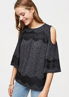 Lacy Dotted Cold Shoulder Tee