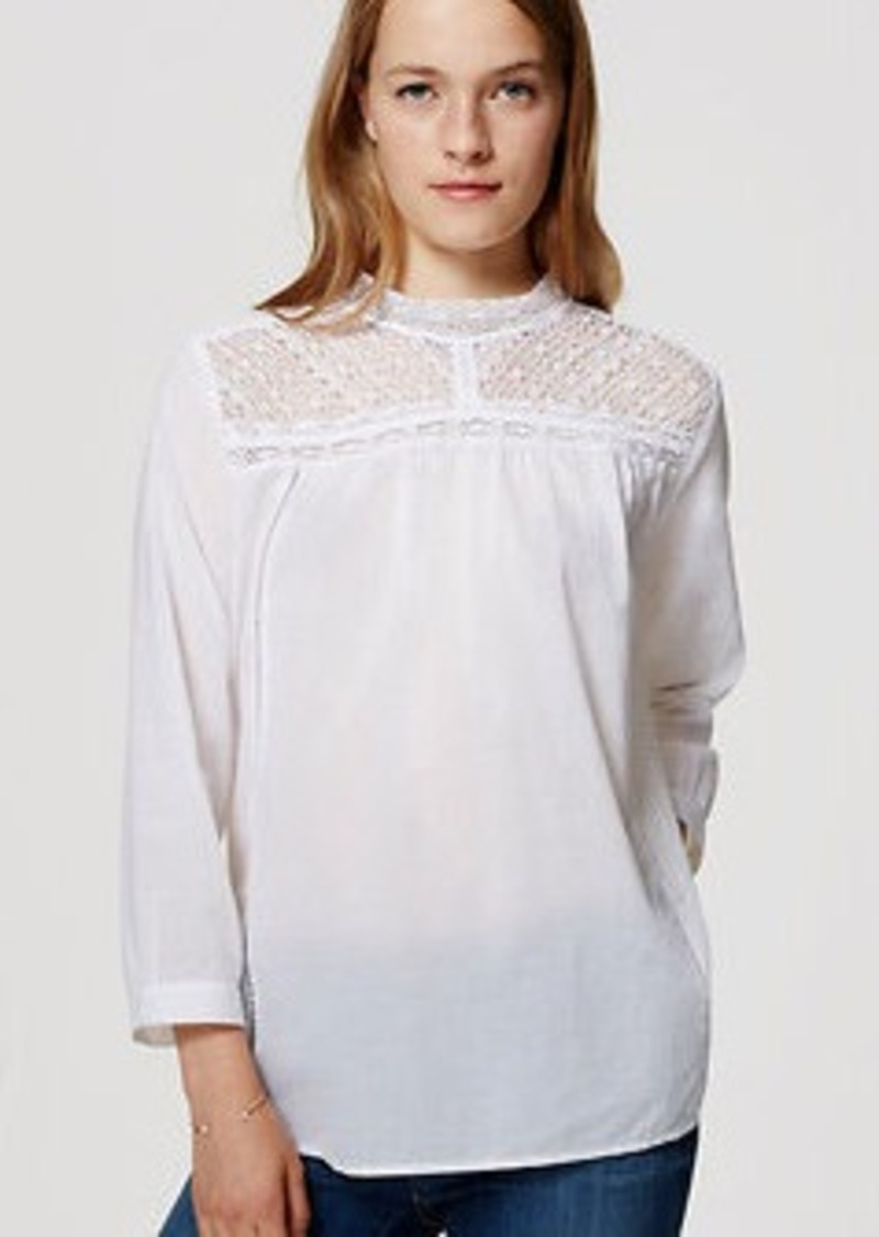 LOFT Lacy Mock Neck Shirt
