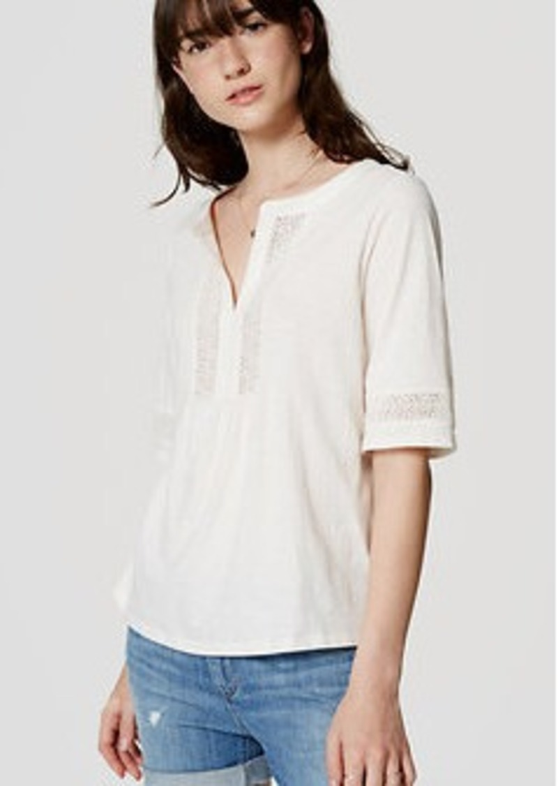 LOFT Lacy Split Neck Tee