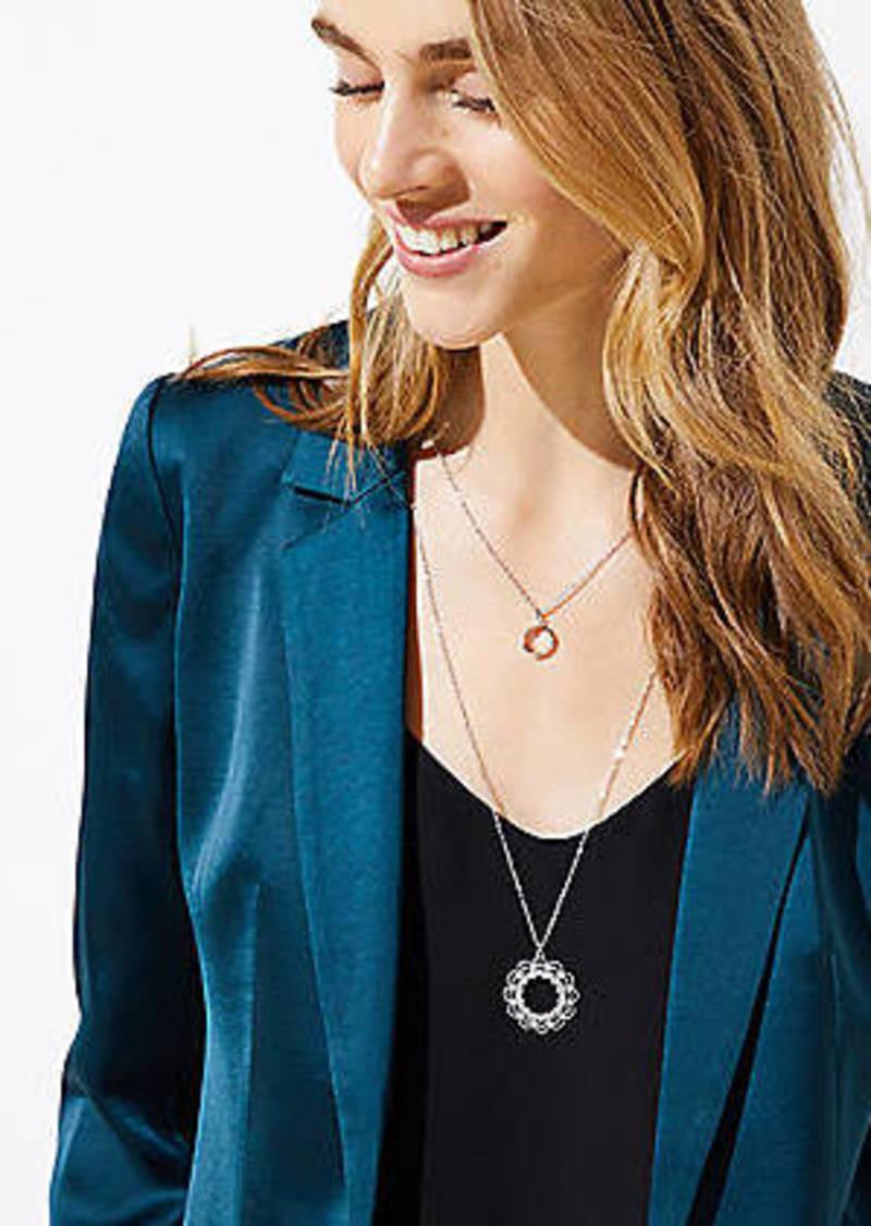 LOFT Layered Crystal Filigree Pendant Necklace