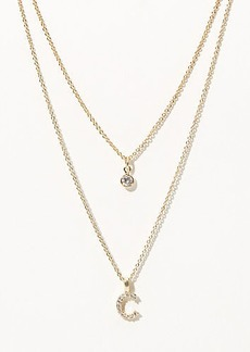 LOFT Layered Pave Initial Necklace