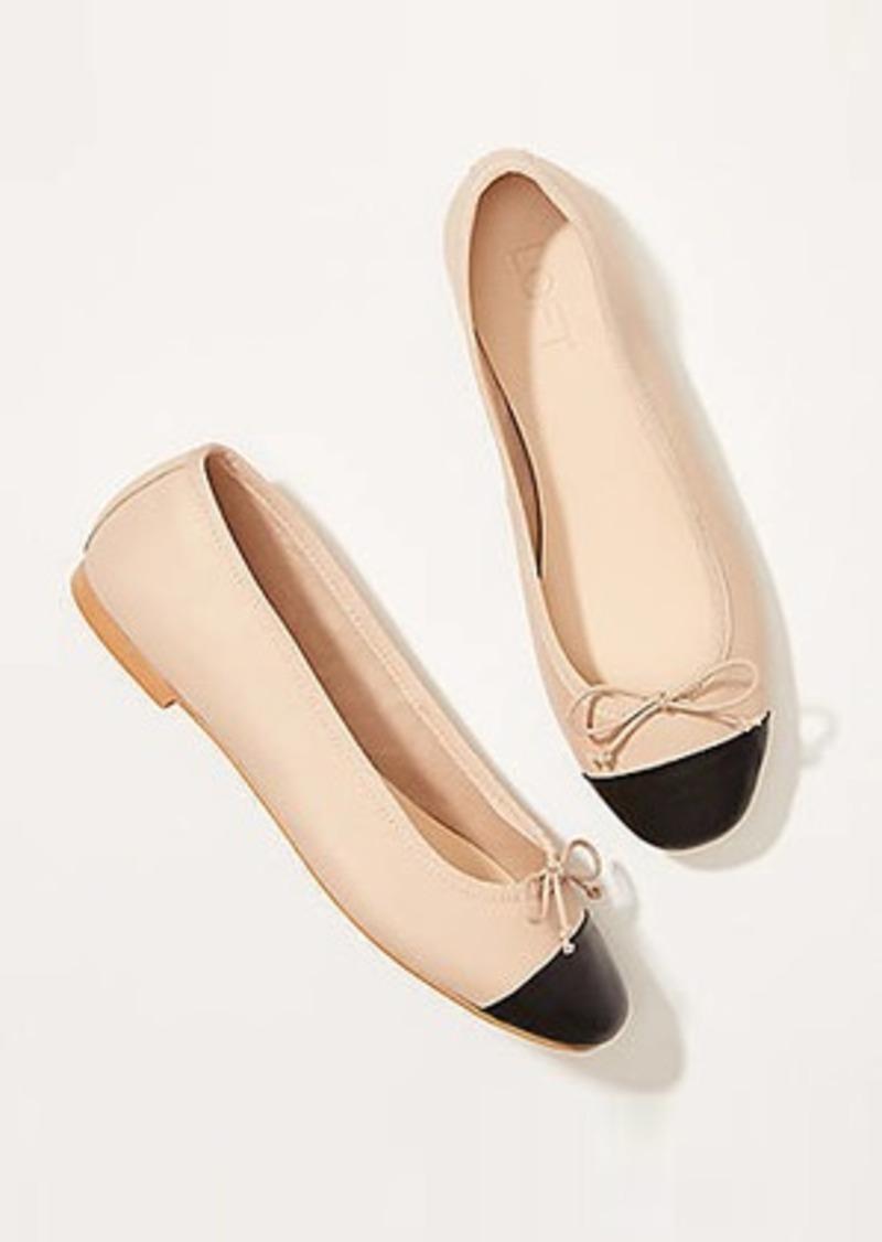 LOFT Leather Cap Toe Bow Ballet Flats