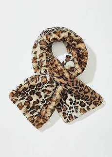 LOFT Leopard Print Faux Fur Pull Through Scarf