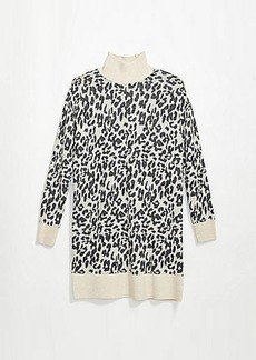 LOFT Leopard Jacquard Turtleneck Dress