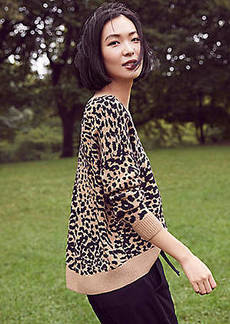 LOFT Leopard Print Drop Shoulder Sweater
