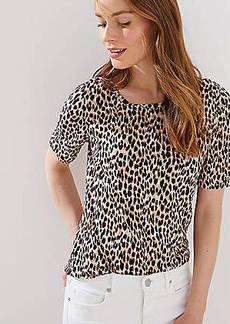 LOFT Leopard Print Elbow Sleeve Linen Tee