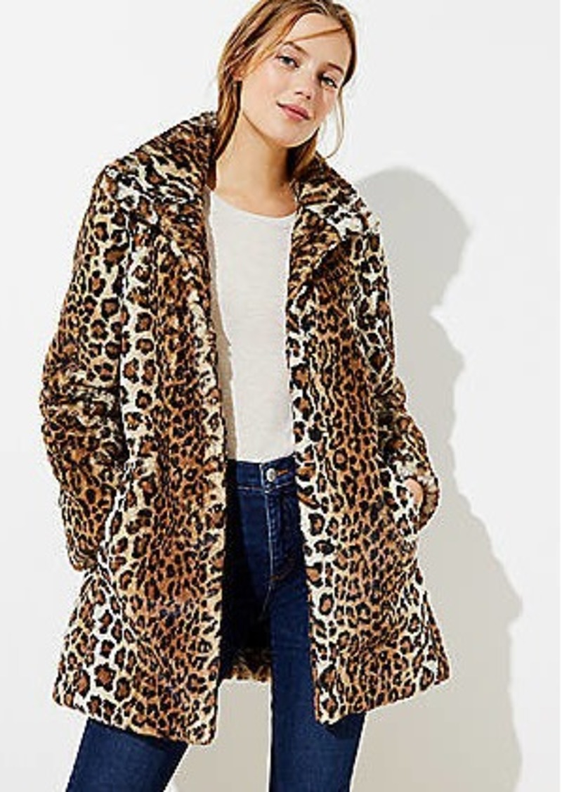 LOFT Leopard Print Faux Fur Funnel Neck Coat
