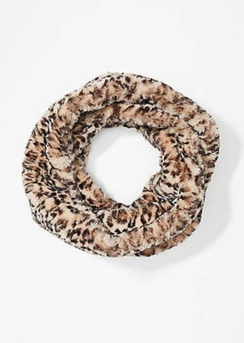 LOFT Leopard Print Faux Fur Infinity Scarf