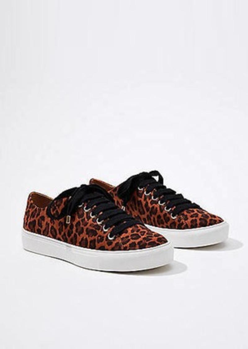LOFT Leopard Print Lace Up Sneakers