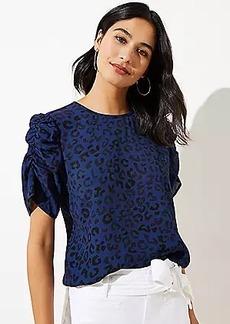 LOFT Leopard Print Puff Sleeve Top