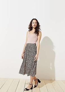 LOFT Leopard Print Smocked Pull On Maxi Skirt