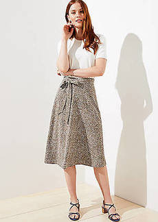 LOFT Leopard Print Tie Waist Midi Skirt