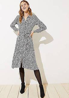 LOFT Leopard Print Tie Waist Shirtdress