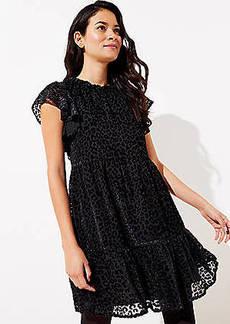 LOFT Leopard Print Velvet Swing Dress