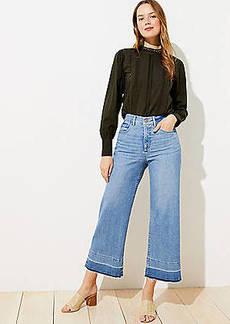 LOFT Let Down Hem High Waist Wide Leg Crop Jeans in Vivid Light Indigo Wash