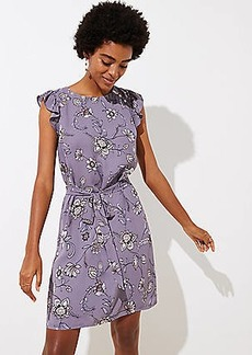 LOFT Lilac Garden Button Flutter Dress