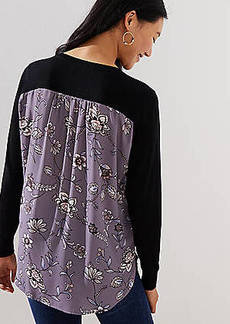 LOFT Lilac Garden Mixed Media Sweater