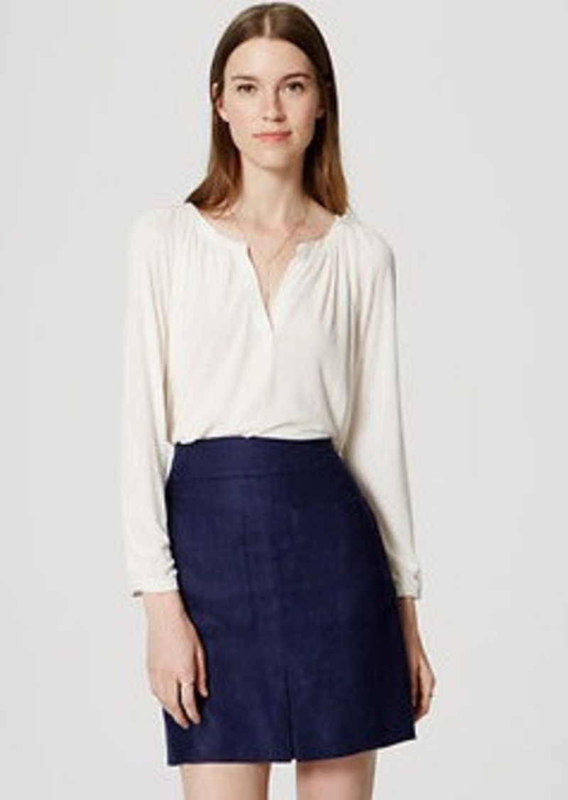 LOFT Linen Pleated Pocket Skirt