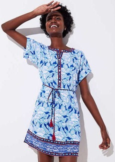 LOFT Beach Border Floral Tie Waist Dress