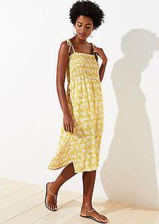 LOFT Beach Branch Smocked Midi Dress