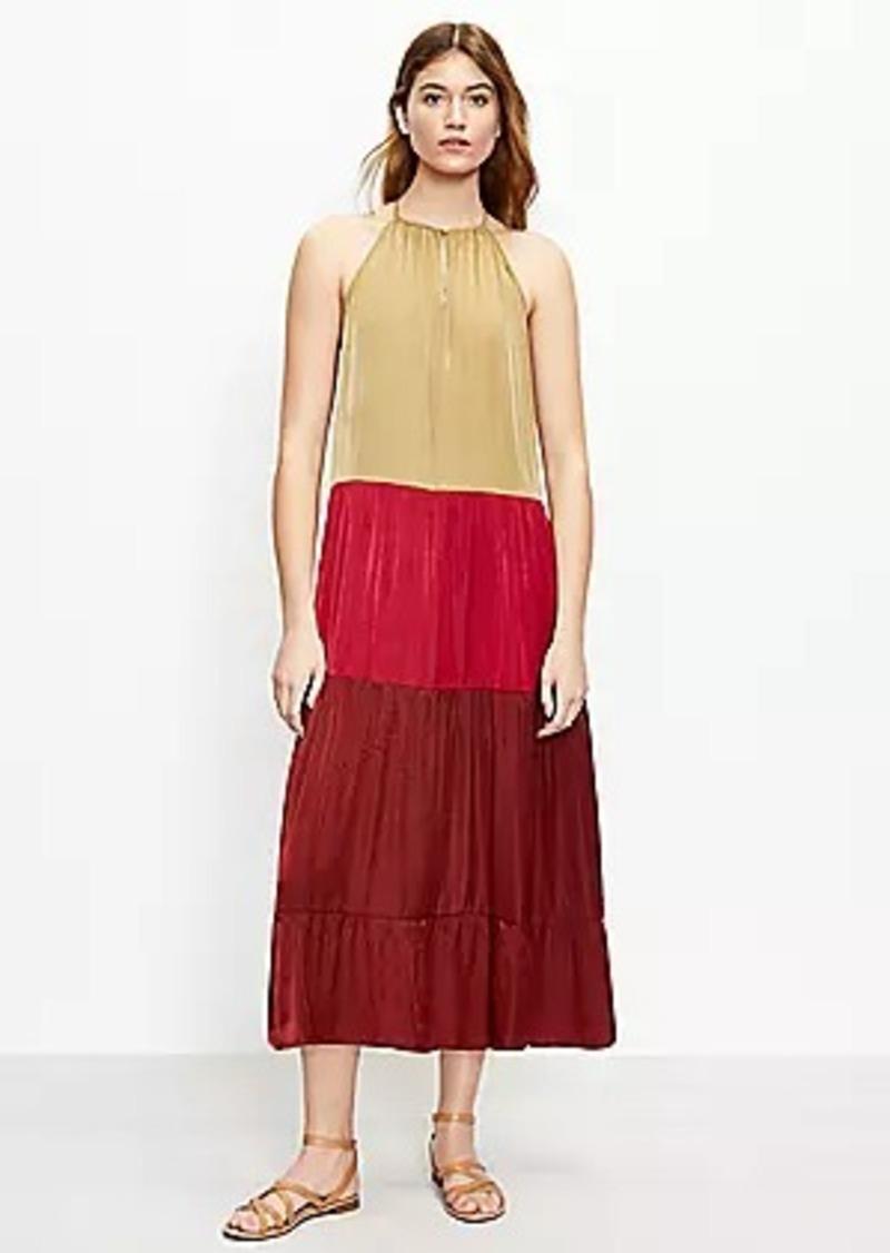 LOFT Beach Colorblock Tiered Halter Midi Dress