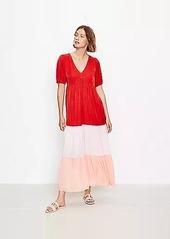 LOFT Beach Colorblock Tiered V-Neck Maxi Dress