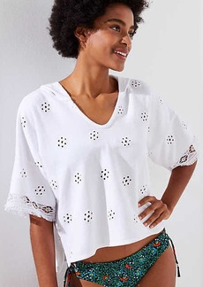 LOFT Beach Eyelet French Terry Short Sleeve Hoodie