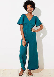 LOFT Beach Flare Sleeve Tie Back Jumpsuit