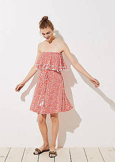 LOFT Beach Floral Pom Pom Strapless Dress