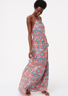 LOFT Beach Floral Tiered Halter Maxi Dress