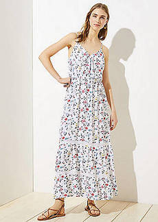 LOFT Beach Floral Wrap Tiered Maxi Dress
