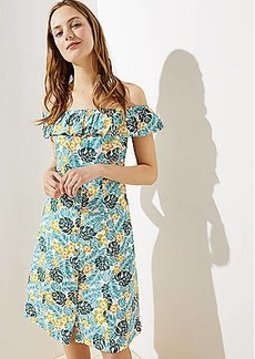 LOFT Beach Flower Off the Shoulder Button Dress