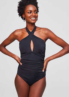 LOFT Beach Keyhole Halter One Piece Swimsuit