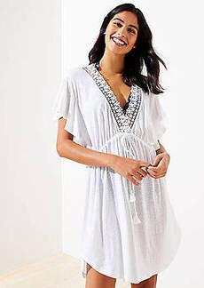 LOFT Beach Lace Trim Short Sleeve Dress