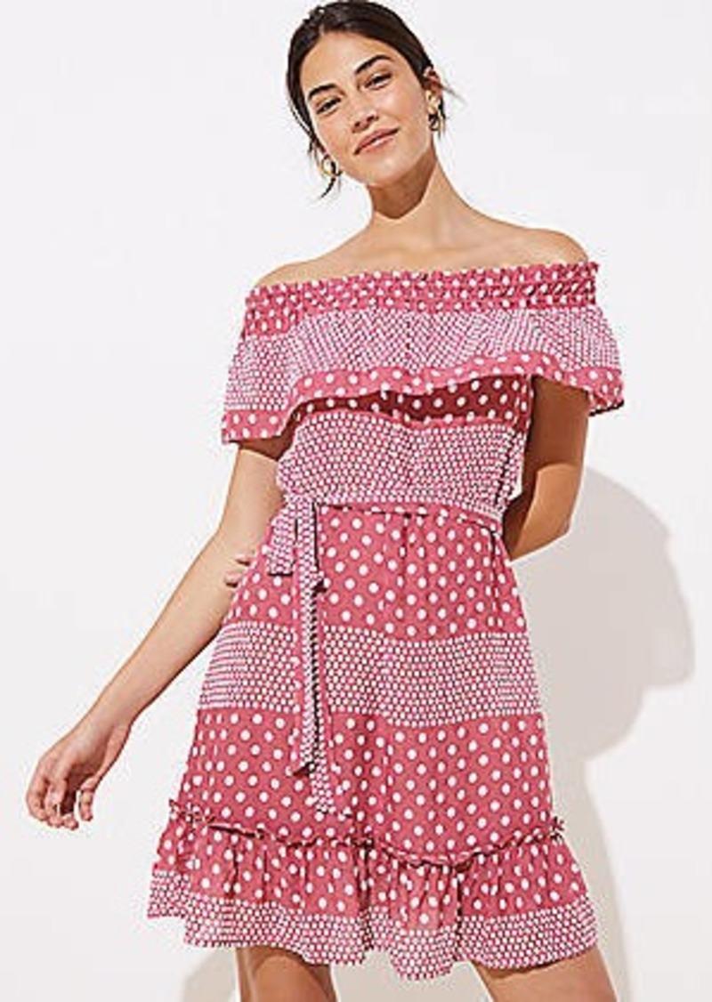 LOFT Beach Mixed Dot Off The Shoulder Dress