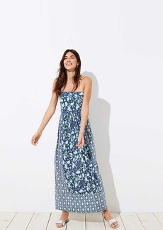 LOFT Beach Floral Mosaic Strapless Maxi Dress