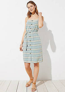 LOFT Beach Mosaic Button Down Midi Dress