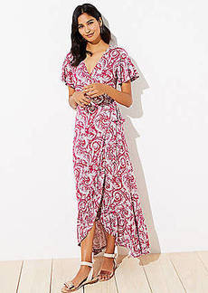 LOFT Beach Paisley Wrap Maxi Dress