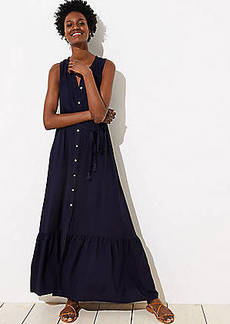 LOFT Beach Button Down Flounce Maxi Dress
