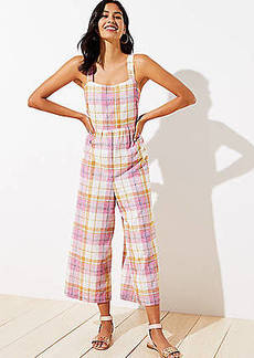 LOFT Beach Plaid Tie Back Jumpsuit