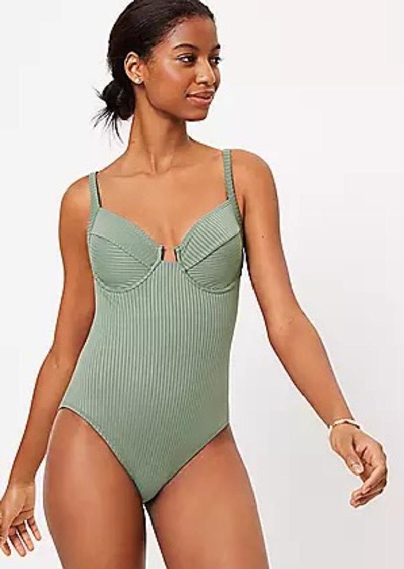 LOFT Beach Ribbed Balconette One Piece Swimsuit