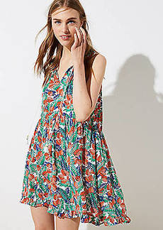 LOFT Beach Ruffled Tie Neck Dress